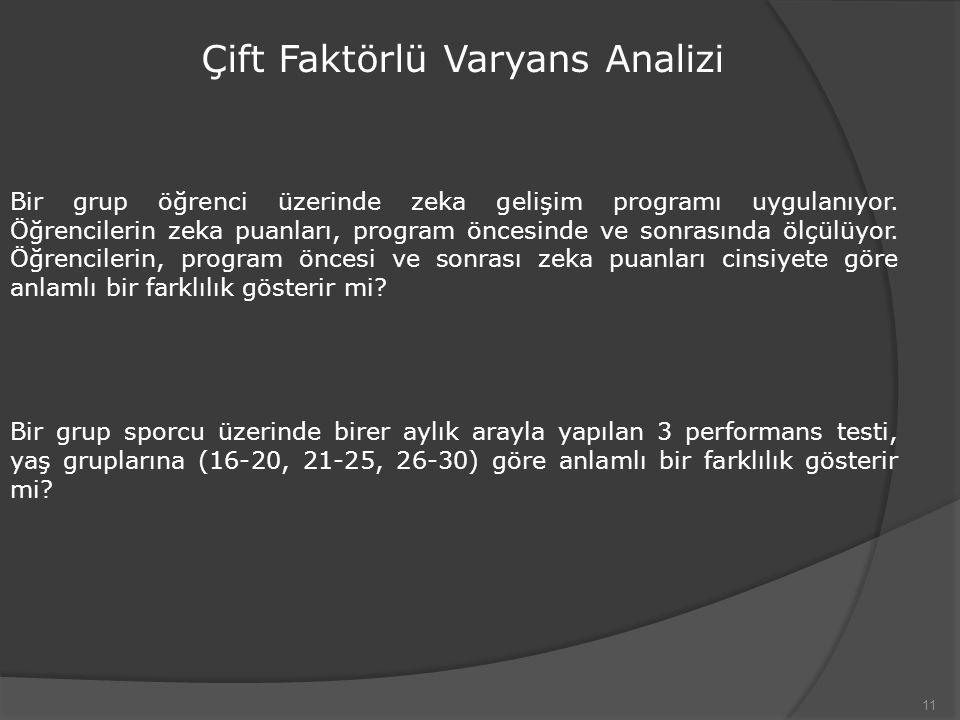 Çift Faktörlü Varyans Analizi