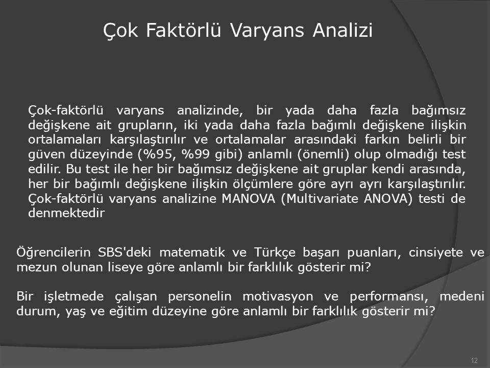 Çok Faktörlü Varyans Analizi