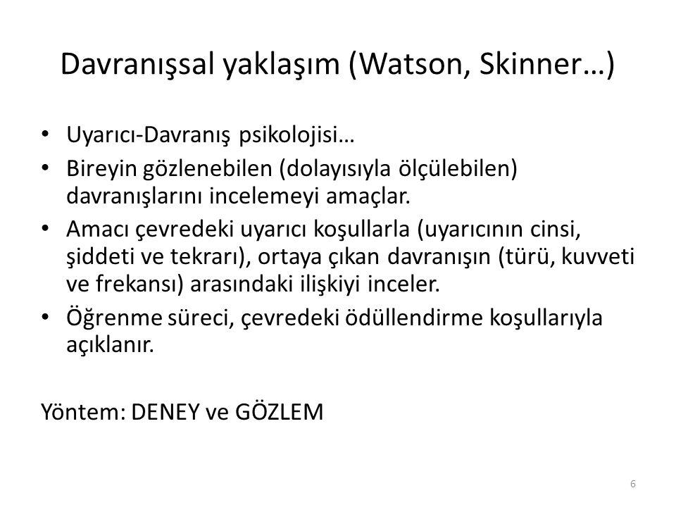 Davranışsal yaklaşım (Watson, Skinner…)
