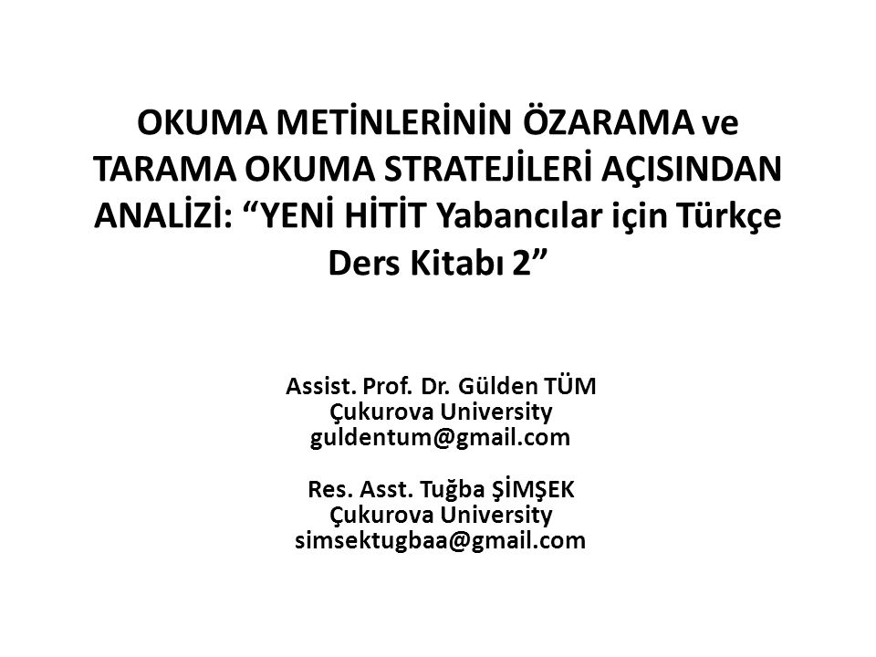 Assist. Prof. Dr. Gülden TÜM