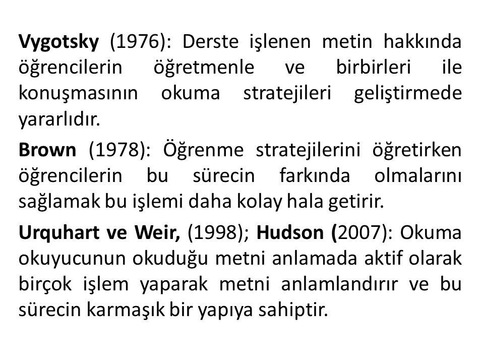 Vygotsky (1976): Derste işlenen metin hakkında öğrencilerin öğretmenle ve birbirleri ile konuşmasının okuma stratejileri geliştirmede yararlıdır.