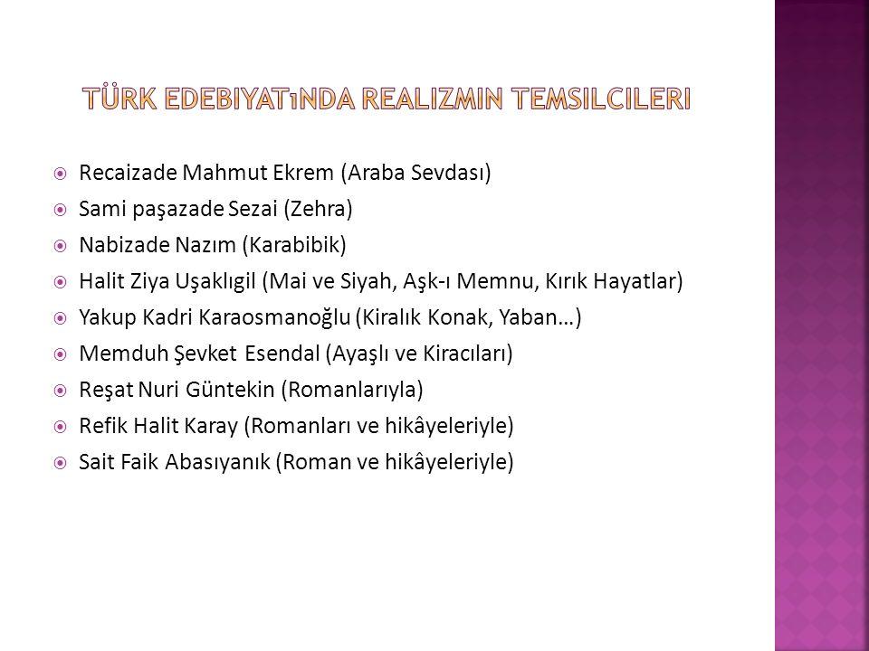 Türk edebiyatında realizmin temsilcileri