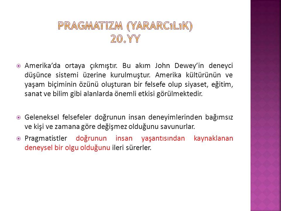 Pragmatizm (yararcılık) 20.yy