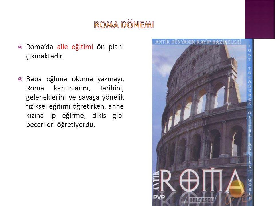 Roma dönemi Roma'da aile eğitimi ön planı çıkmaktadır.
