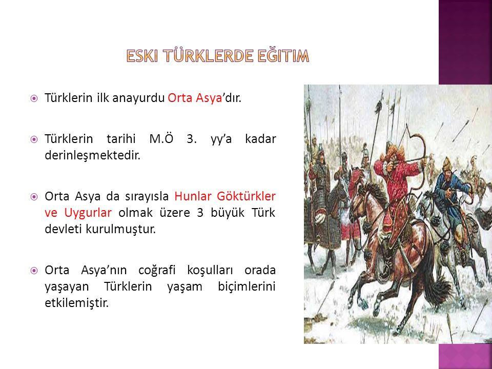 Eski TÜRKLERDE eğitim Türklerin ilk anayurdu Orta Asya'dır.