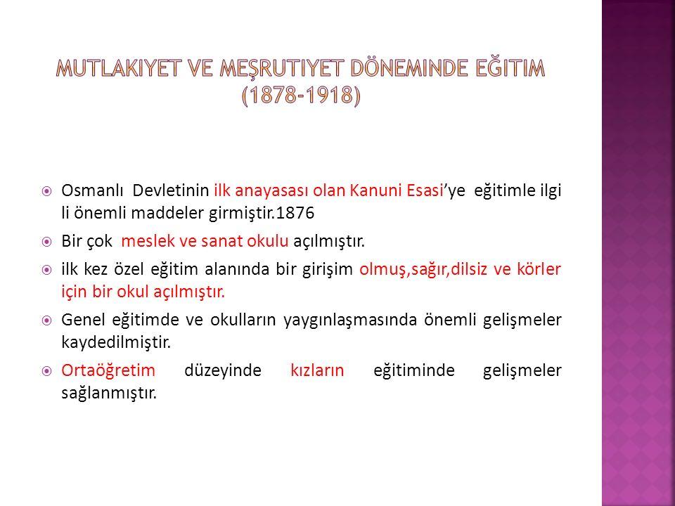 Mutlakiyet ve Meşrutiyet döneminde eğitim (1878-1918)