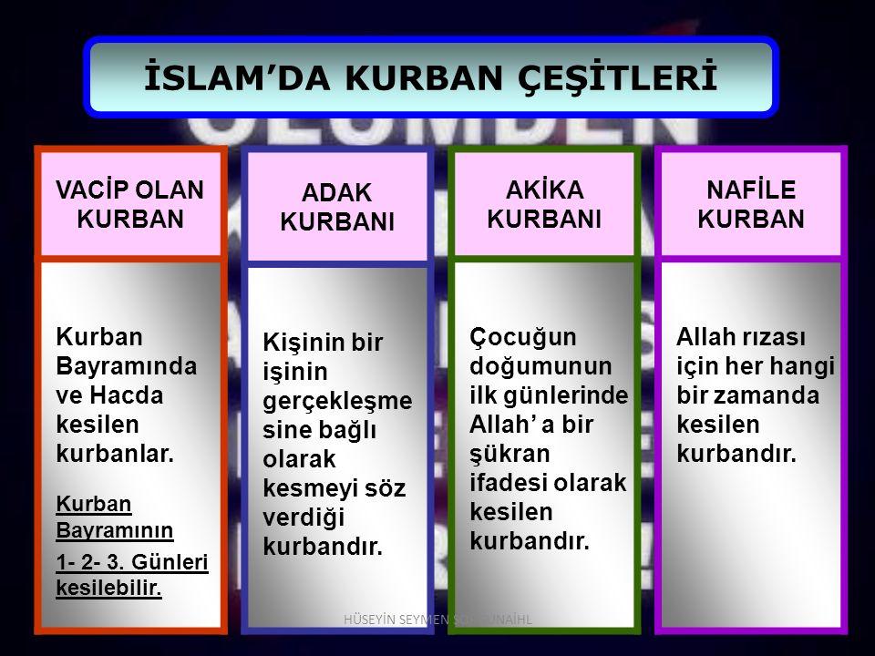 İSLAM'DA KURBAN ÇEŞİTLERİ