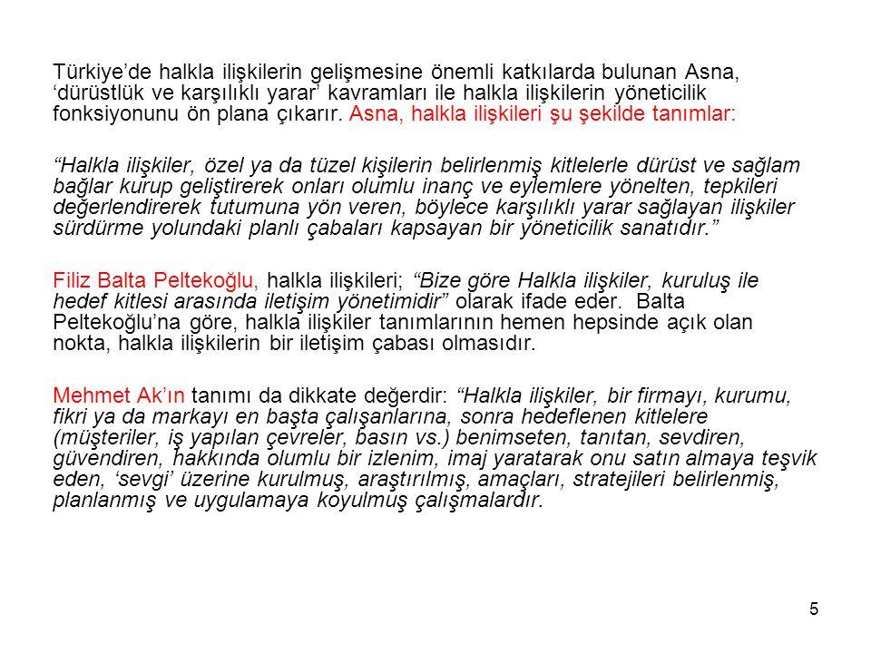 Türkiye'de halkla ilişkilerin gelişmesine önemli katkılarda bulunan Asna, 'dürüstlük ve karşılıklı yarar' kavramları ile halkla ilişkilerin yöneticilik fonksiyonunu ön plana çıkarır. Asna, halkla ilişkileri şu şekilde tanımlar: