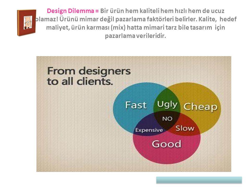 Design Dilemma = Bir ürün hem kaliteli hem hızlı hem de ucuz olamaz