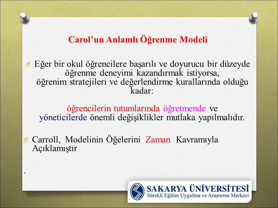 Carol'un Anlamlı Öğrenme Modeli