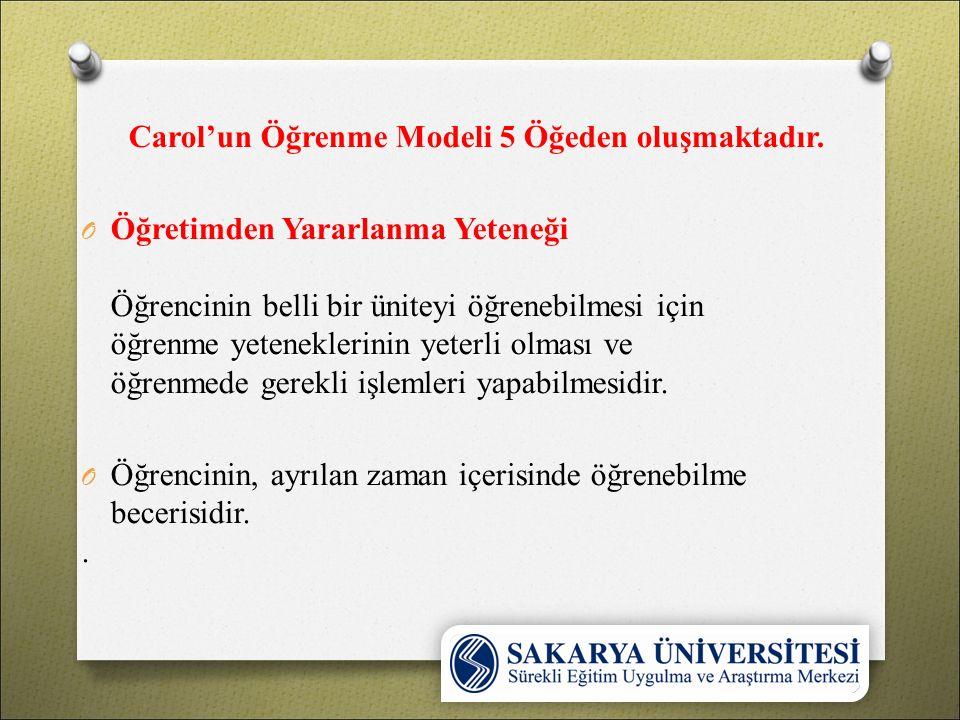 Carol'un Öğrenme Modeli 5 Öğeden oluşmaktadır.