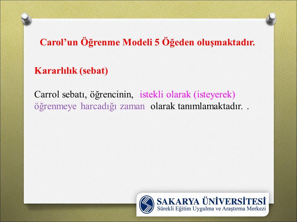Carol'un Öğrenme Modeli 5 Öğeden oluşmaktadır