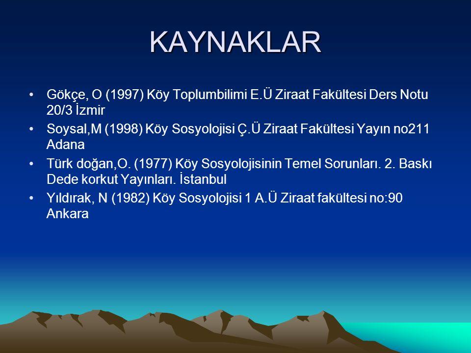 KAYNAKLAR Gökçe, O (1997) Köy Toplumbilimi E.Ü Ziraat Fakültesi Ders Notu 20/3 İzmir.