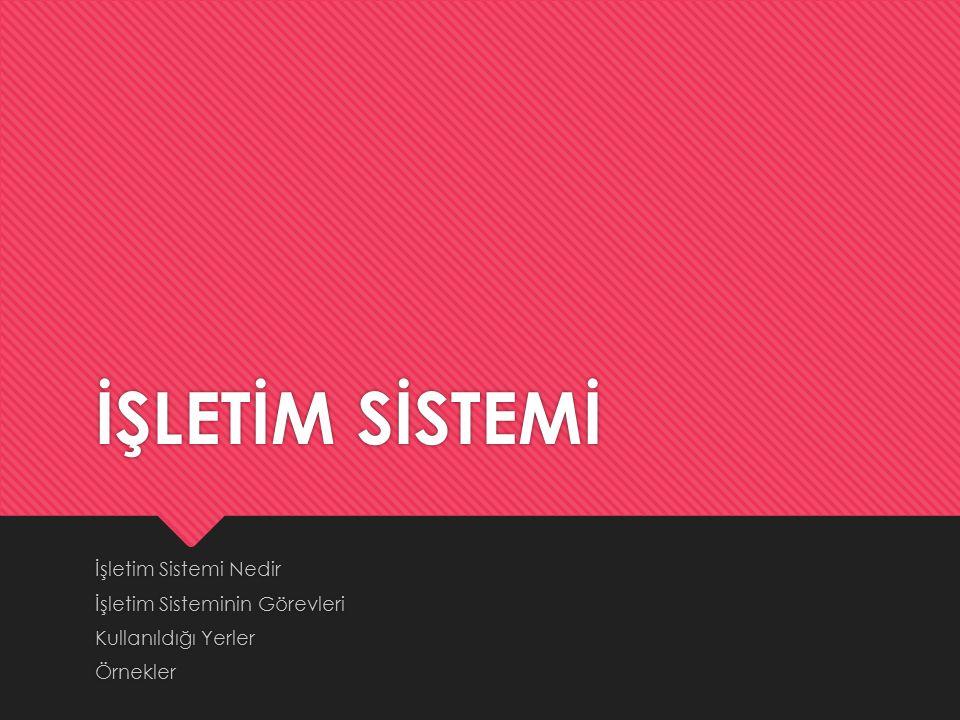 İŞLETİM SİSTEMİ İşletim Sistemi Nedir İşletim Sisteminin Görevleri