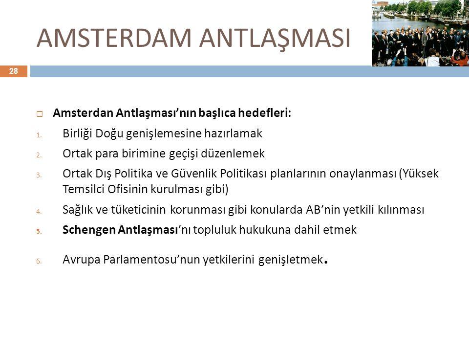AMSTERDAM ANTLAŞMASI Amsterdan Antlaşması'nın başlıca hedefleri: