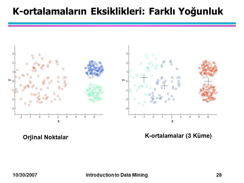 K-ortalamaların Eksiklikleri: Farklı Yoğunluk