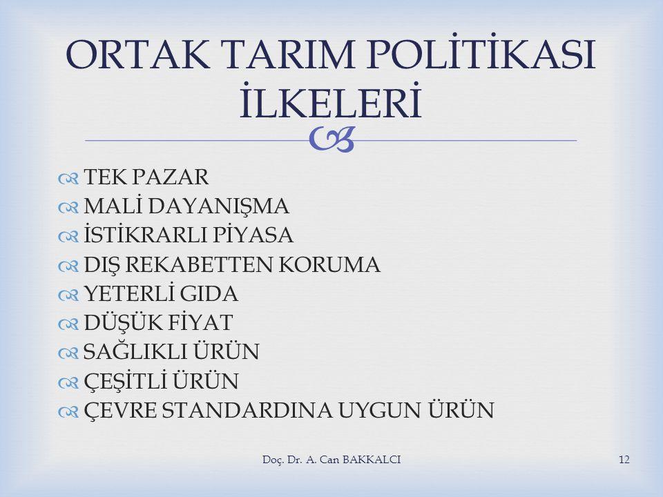 ORTAK TARIM POLİTİKASI İLKELERİ
