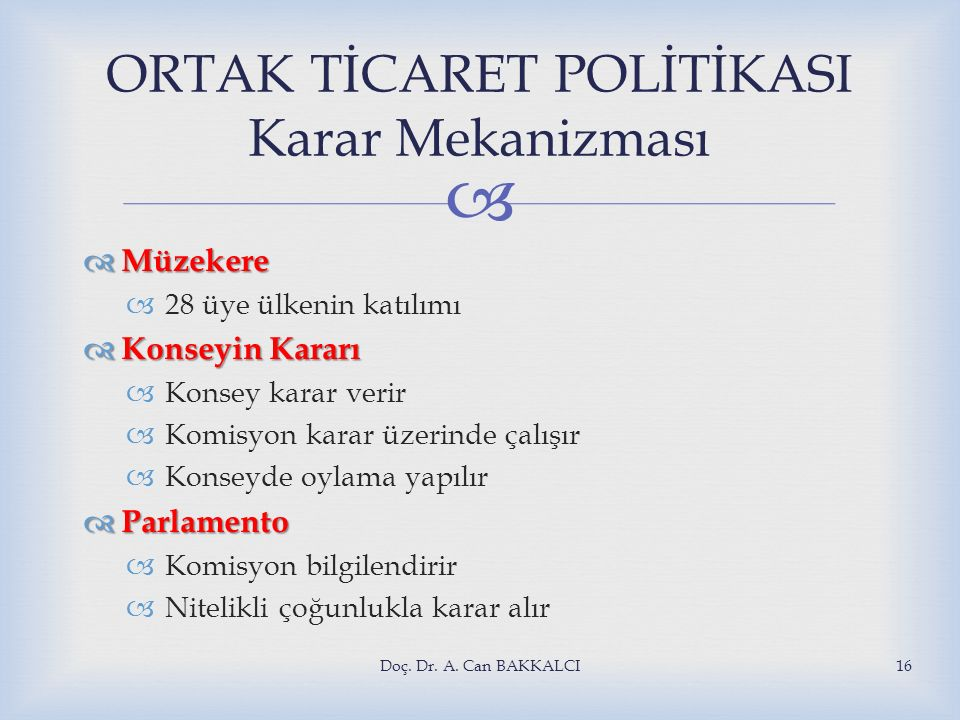 ORTAK TİCARET POLİTİKASI Karar Mekanizması