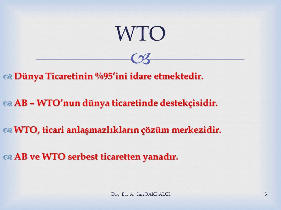 WTO Dünya Ticaretinin %95'ini idare etmektedir.