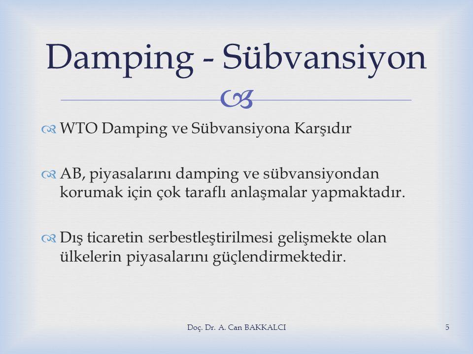 Damping - Sübvansiyon WTO Damping ve Sübvansiyona Karşıdır
