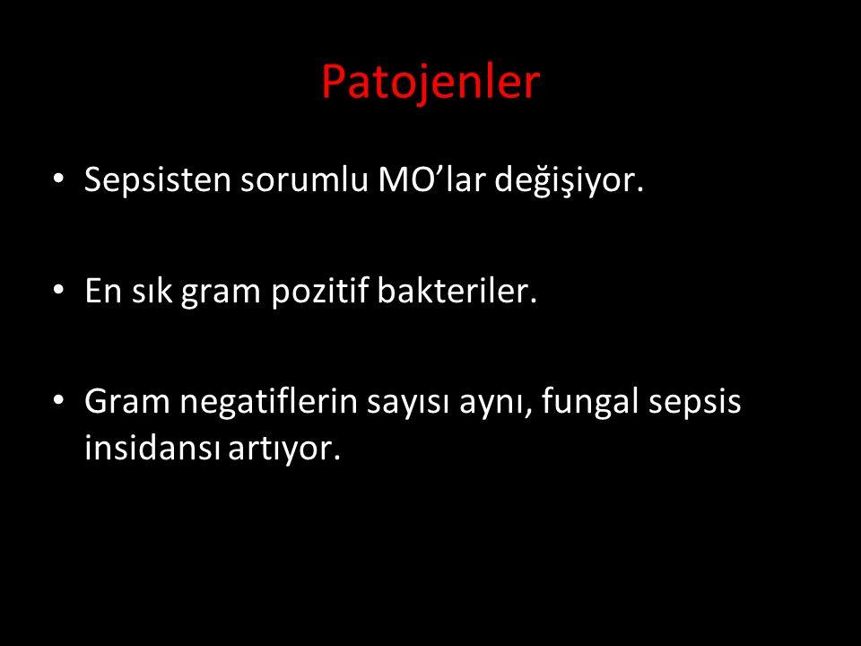 Patojenler Sepsisten sorumlu MO'lar değişiyor.