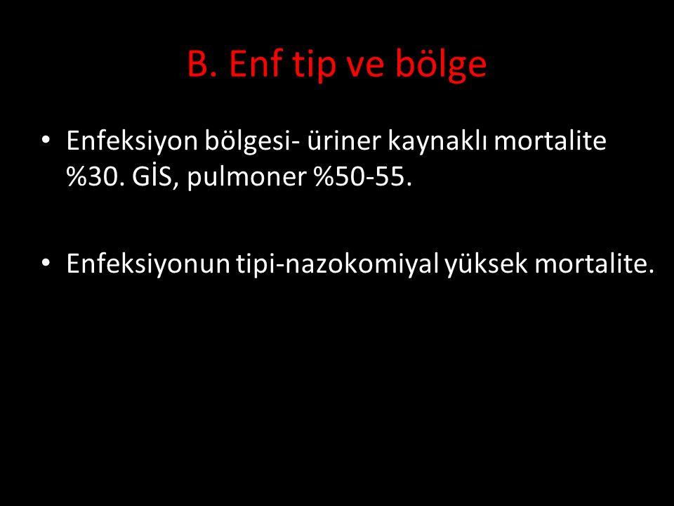 B. Enf tip ve bölge Enfeksiyon bölgesi- üriner kaynaklı mortalite %30. GİS, pulmoner %50-55. Enfeksiyonun tipi-nazokomiyal yüksek mortalite.