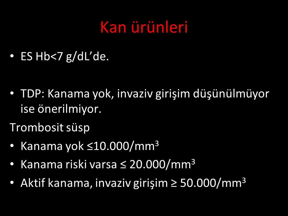 Kan ürünleri ES Hb<7 g/dL'de.