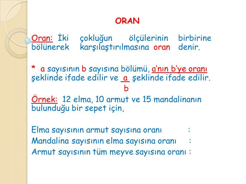 ORAN Oran: İki çokluğun ölçülerinin birbirine bölünerek karşılaştırılmasına oran denir.