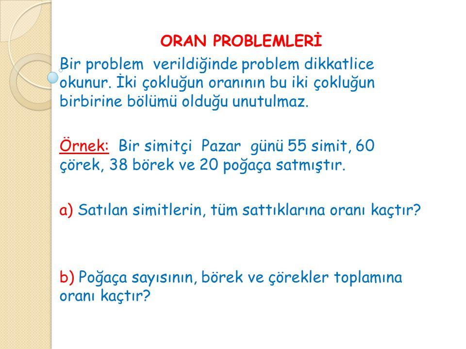 ORAN PROBLEMLERİ Bir problem verildiğinde problem dikkatlice okunur. İki çokluğun oranının bu iki çokluğun birbirine bölümü olduğu unutulmaz.