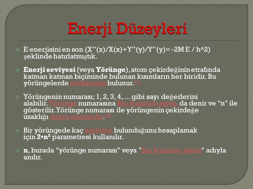 Enerji Düzeyleri E enerjisini en son (X''(x)/X(x)+Y''(y)/Y''(y)= -2M E / h^2) şeklinde hatırlatmıştık.