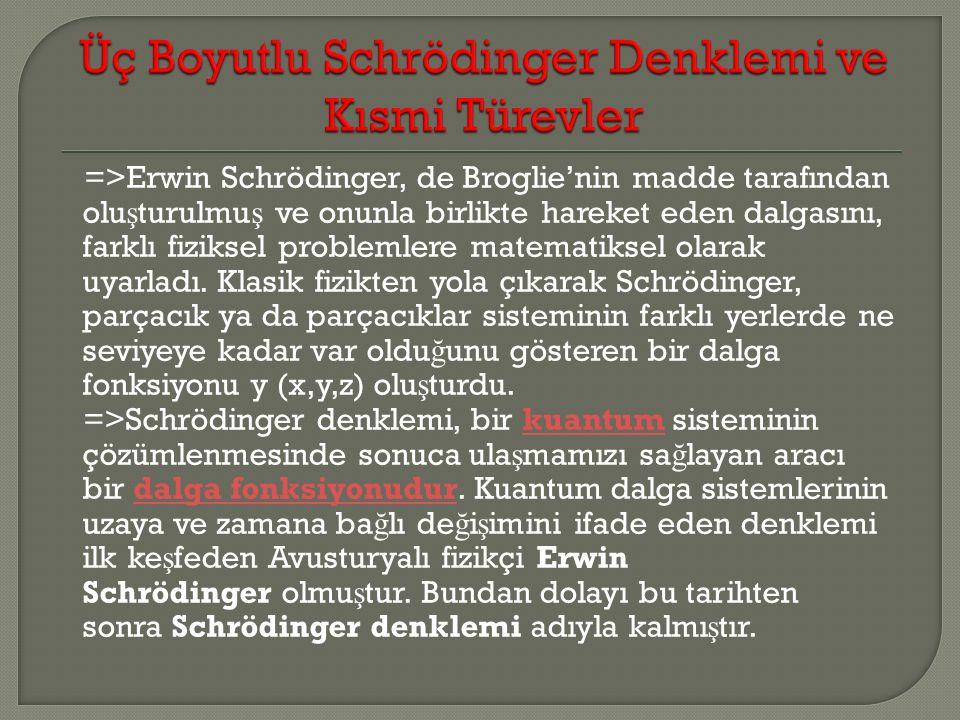 Üç Boyutlu Schrödinger Denklemi ve Kısmi Türevler