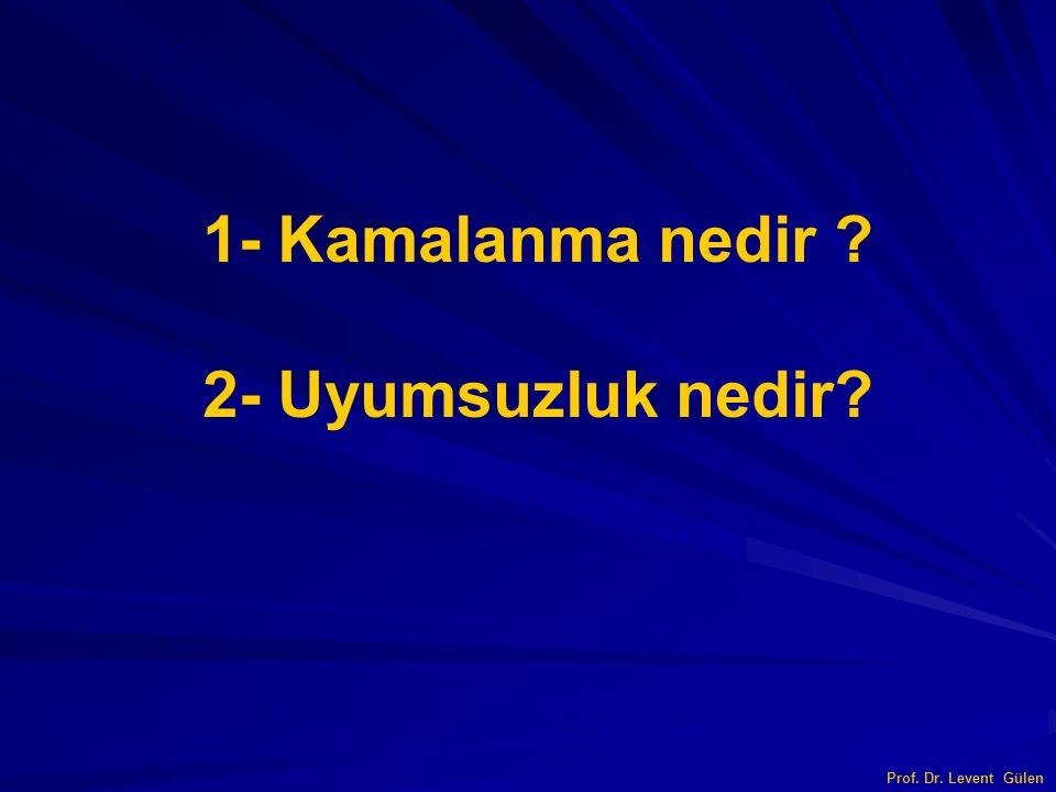 1- Kamalanma nedir 2- Uyumsuzluk nedir Prof. Dr. Levent Gülen