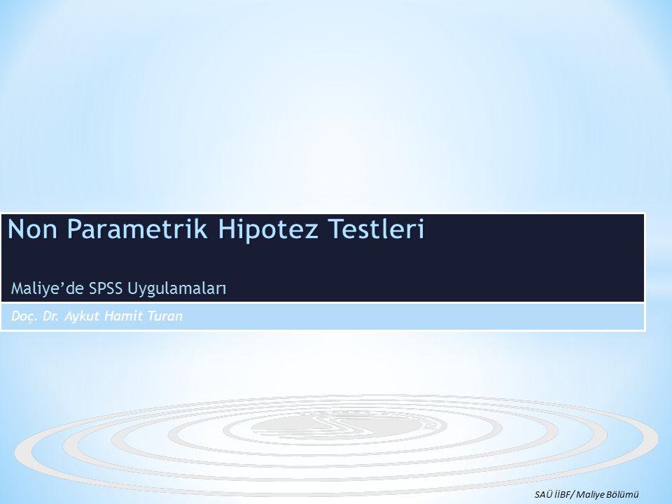 Non Parametrik Hipotez Testleri