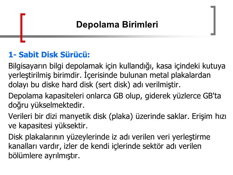 Depolama Birimleri 1- Sabit Disk Sürücü: