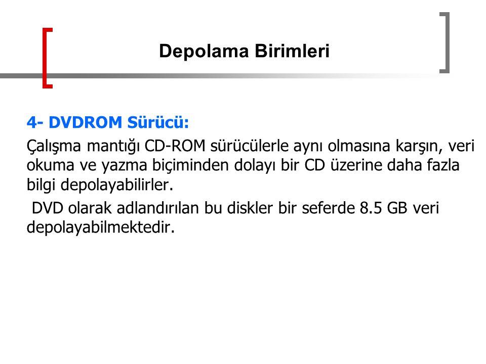 Depolama Birimleri 4- DVDROM Sürücü: