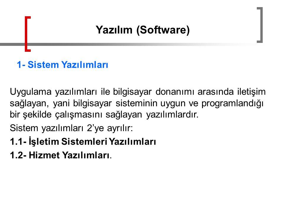 Yazılım (Software) 1- Sistem Yazılımları