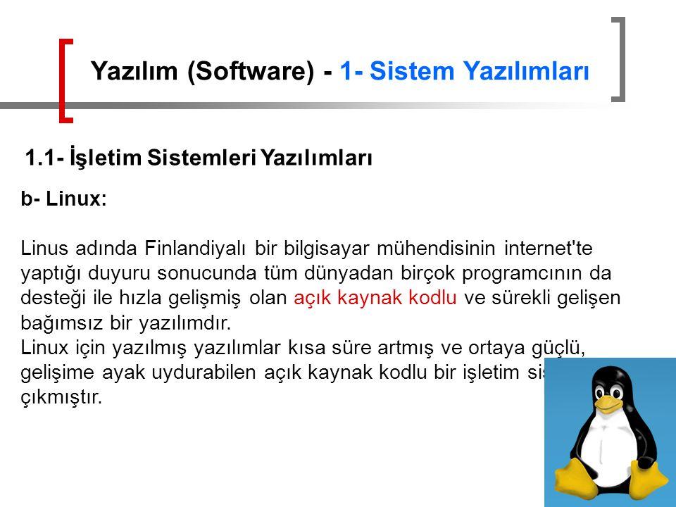 Yazılım (Software) - 1- Sistem Yazılımları