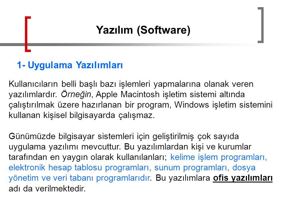 Yazılım (Software) 1- Uygulama Yazılımları