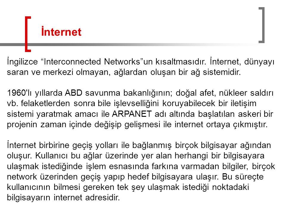 İnternet İngilizce Interconnected Networks un kısaltmasıdır. İnternet, dünyayı saran ve merkezi olmayan, ağlardan oluşan bir ağ sistemidir.