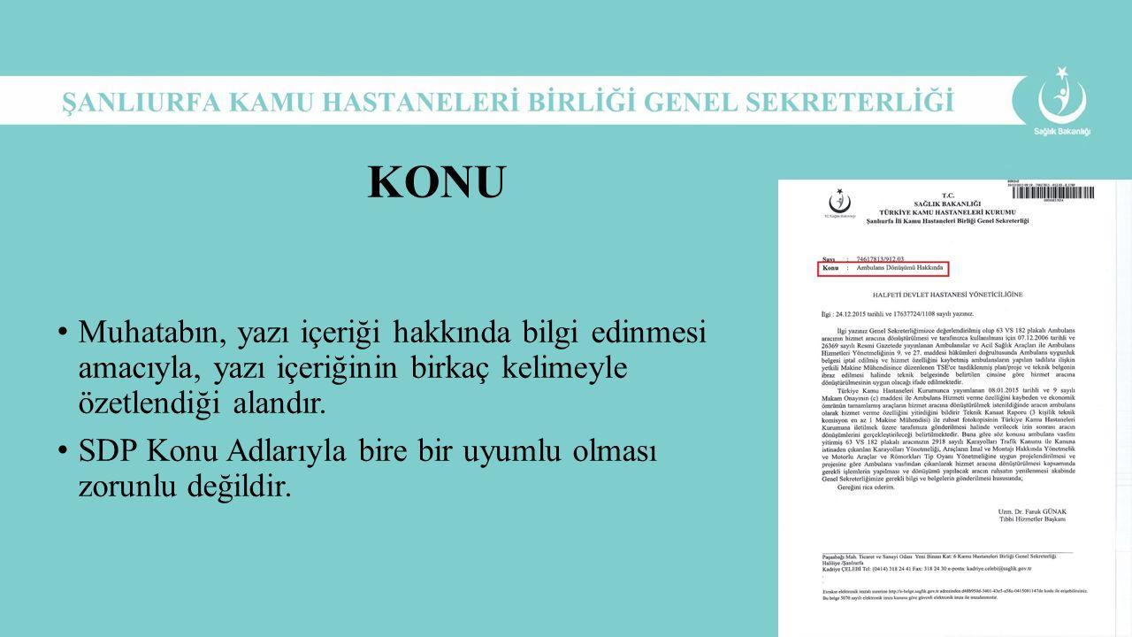 KONU Muhatabın, yazı içeriği hakkında bilgi edinmesi amacıyla, yazı içeriğinin birkaç kelimeyle özetlendiği alandır.