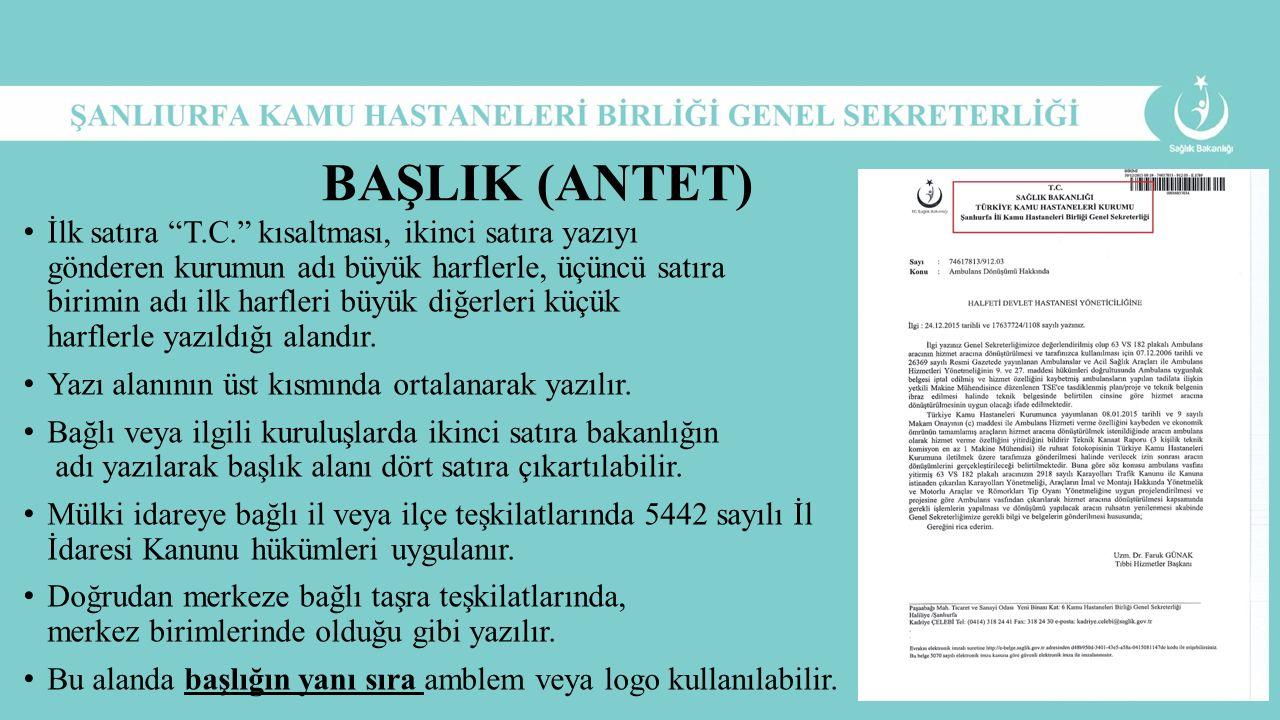 BAŞLIK (ANTET)