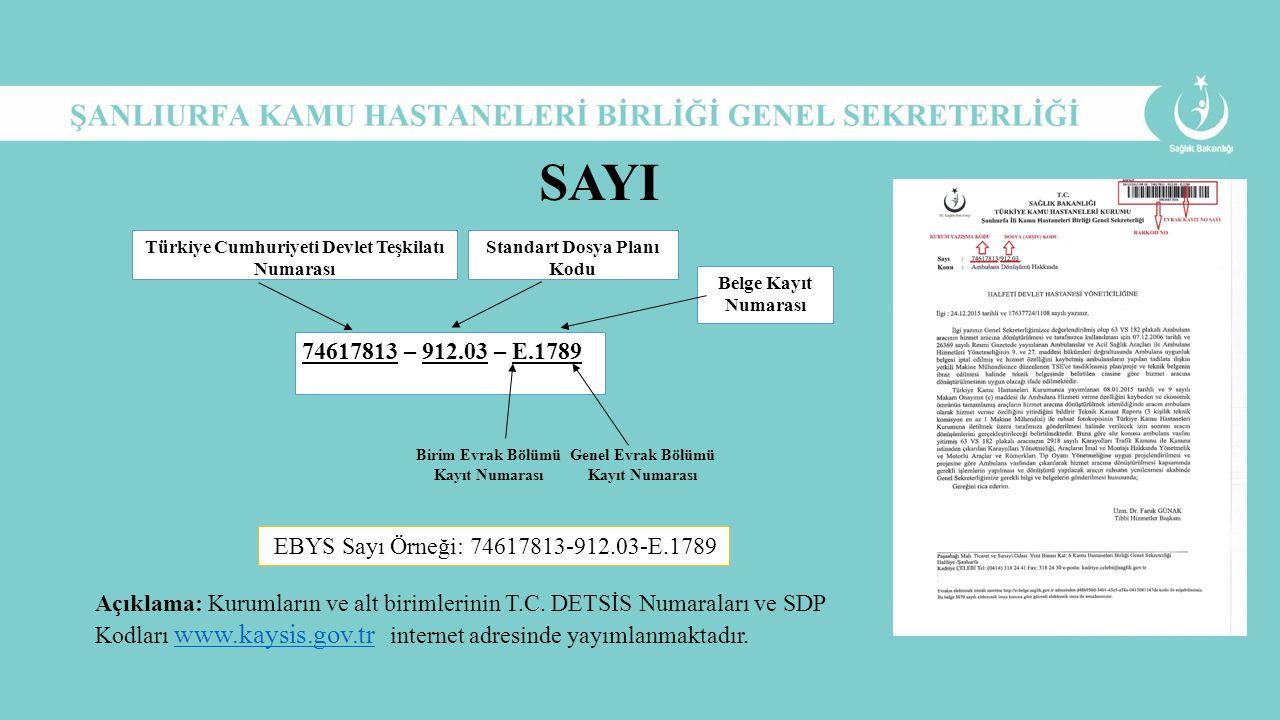 SAYI Türkiye Cumhuriyeti Devlet Teşkilatı Numarası. Standart Dosya Planı Kodu. Belge Kayıt Numarası.