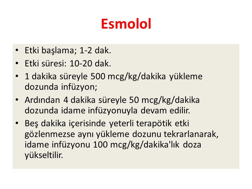 Esmolol Etki başlama; 1-2 dak. Etki süresi: 10-20 dak.