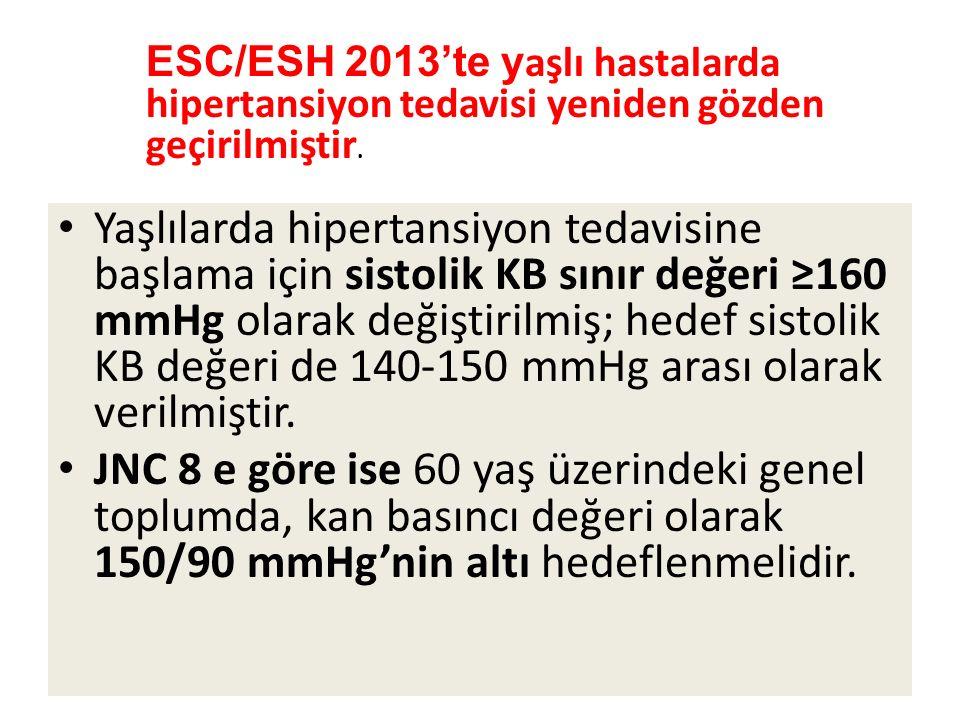 ESC/ESH 2013'te yaşlı hastalarda hipertansiyon tedavisi yeniden gözden geçirilmiştir.