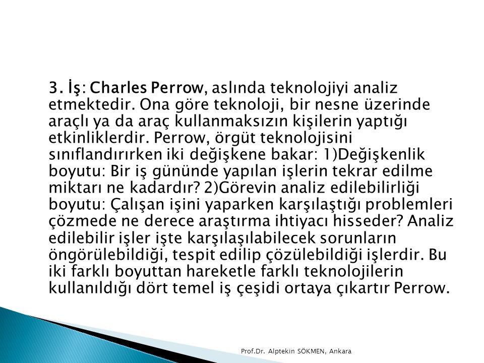 3. İş: Charles Perrow, aslında teknolojiyi analiz etmektedir