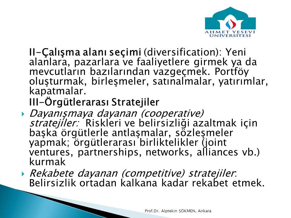 III-Örgütlerarası Stratejiler