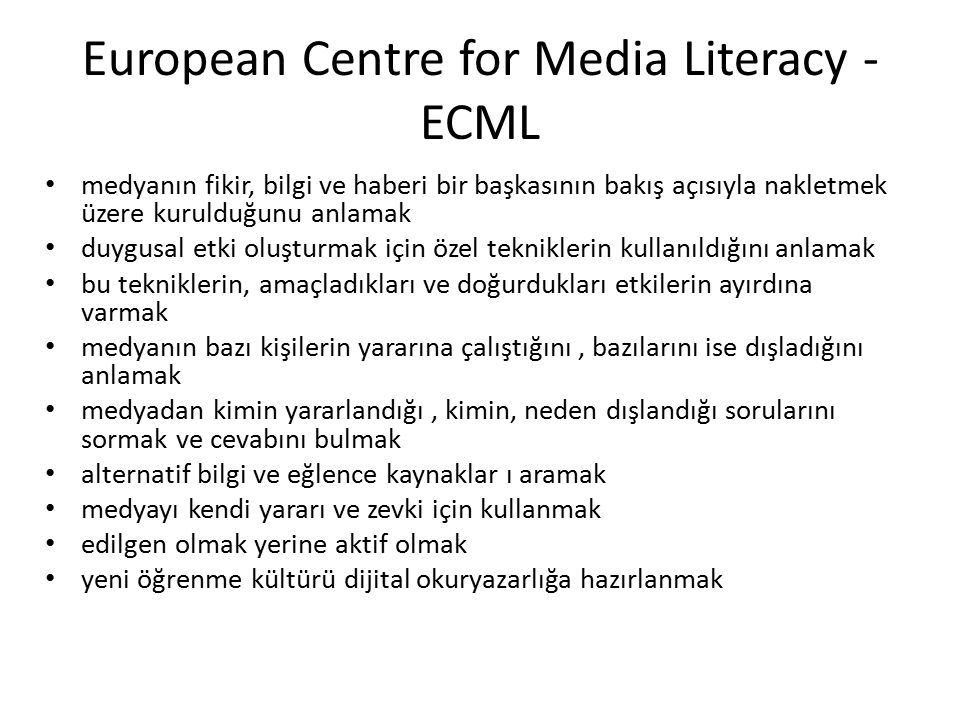 European Centre for Media Literacy -ECML