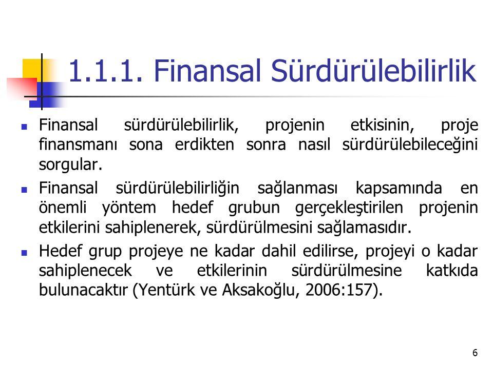 1.1.1. Finansal Sürdürülebilirlik