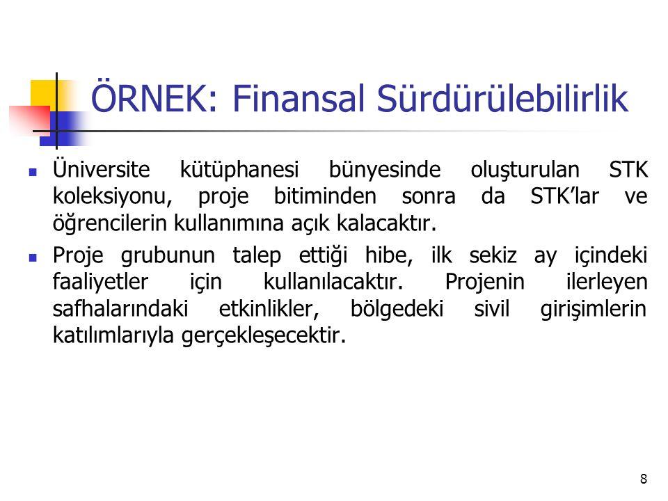 ÖRNEK: Finansal Sürdürülebilirlik