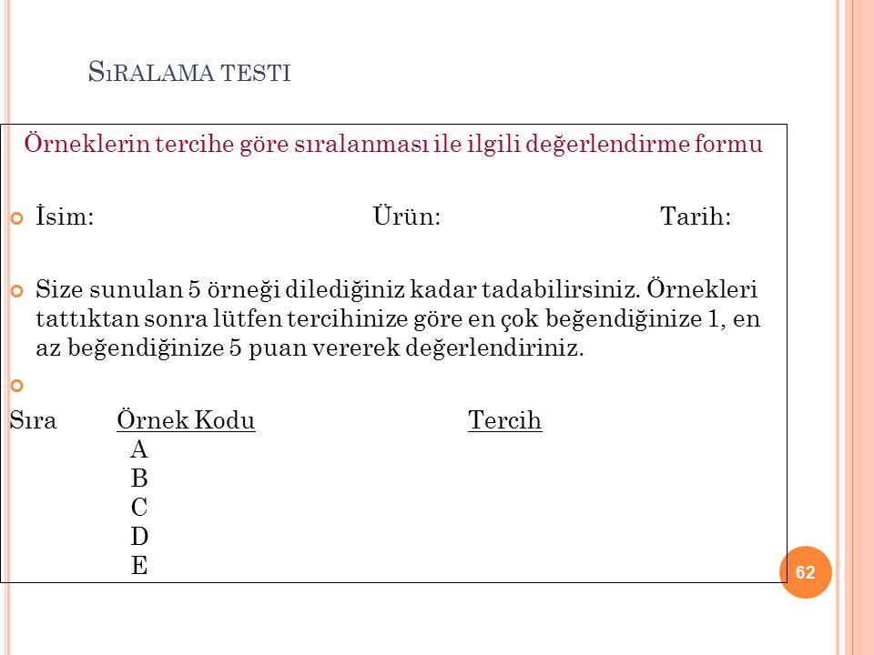 Örneklerin tercihe göre sıralanması ile ilgili değerlendirme formu